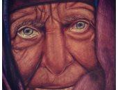 """صور.. قارئ يبدع فى رسم لوحاته بـ""""القلم الجاف والفحم"""""""