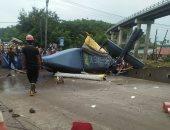 صور.. مصرع شخص وإصابة 6 أخرين فى تحطم مروحية بإندونيسيا