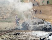 قارئ يشارك بصور لتفحم شخص بعد اندلاع النار فى سيارته على طريق المحور