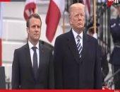ترامب يستقبل ماكرون بالبيت الأبيض وسط مراسم رسمية