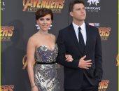"""صور.. أول ظهور رسمى لـ""""سكارليت جوهانسون"""" وخطيبها فى فيلم Avenger"""