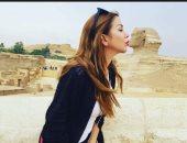 """الفنانة رزان مغربى فى زيارة للأهرامات: """"من أم الدنيا.. بحب مصر"""""""