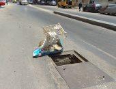 بلاعة بدون غطاء تهدد المارة بالخطر فى شارع جمال عبد الناصر بالإسكندرية