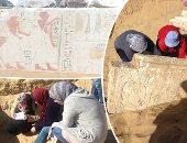 """صور.. تفاصيل اكتشاف مقبرة """"يوراخى"""" القائد الأعلى للجيش المصرى القديم بسقارة.. رئيسة البعثة: الرسومات أظهرت الخيالة بعرباتهم الحربية وهم فى حملة دفاع عن الأرض.. وتؤكد: المحارب""""حاتيا"""" يظهر بنفس حجم وأهمية جده"""