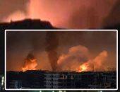 صور.. دوى انفجارات ضخمة تهز محيط مطار الضبعة بمدينة حمص السورية