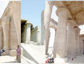 """صور ..""""الرمسيوم"""" أجمل المعابد الجنائزية لـ""""رمسيس الثانى"""" بالأقصر..  نقوشه تسجل """"معركة قادش"""" والنصر على الحيثيين وكان يستخدم لعبادة الإله """"آمون"""".. والإغريق أطلقوا عليه """"ممنونيوم"""""""