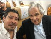 """محمد بركات ينشر صورة مع مانويل جوزيه على """"طائرة"""""""