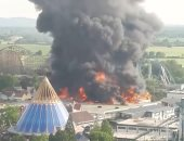 """صور.. السيطرة على حريق ضخم بمدينة ملاهى """"أوروبا بارك"""" فى ألمانيا"""