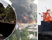"""صور.. العالم هذا الصباح.. حريق ضخم فى مدينة ملاهى """"أوروبا بارك"""" بألمانيا.. انفجارات بركانية جديدة بولاية هاواى تقذف حمما ورمادا.. والجيش البرازيلى ينزل للشوارع لفض اعتصام سائقى الشاحنات"""