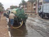 صور.. شفط مياه الأمطار من شوارع طور سيناء لتحقيق السيولة المرورية