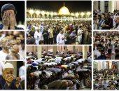 صلاة التراويح تضىء مسجد عمرو بن العاص فى ليلة 27 رمضان
