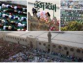 الأطفال يتصدرون المشهد فى صلاة عيد الفطر بمسجد عمرو بن العاص