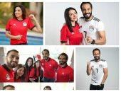 صور.. نجوم الفن والرياضة يؤازرون الفراعنة بقميص المنتخب