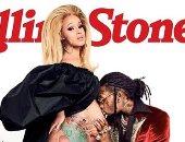 """""""كاردى بى"""" شبه عارية وتستعرض حملها على غلاف مجلة """"Rolling Stone"""""""