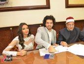 فيديو وصور.. نجوم الأهلى يحضرون عقد قران عمرو بركات على ابنة إيهاب جلال -صور