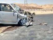 مصرع شخصين وإصابة طفل فى تصادم سيارتين على صحراوى بنى سويف