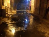 غرق شارع مسجد الرحمة بالوراق فى مياه الصرف الصحى