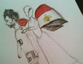 قارئة عمرها 16 سنة تشارك بصورة تحت عنوان نقف مع المنتخب رغم الهزيمة