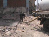 سحب المياه الراكدة وبناء سور حول موقع حفر مبنى بريد بنى سويف