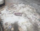 قارئة تشارك بصور لهبوط أرضى فى شارع عبد الحليم محمود بالإسكندرية