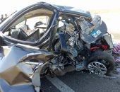 زحام مرورى بسبب حادث تصادم 3 سيارات أعلى طريق السويس الصحراوى