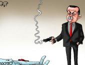 """أردوغان يقتل الديمقراطية بتركيا فى كاريكاتير ساخر لـ""""اليوم السابع"""""""