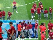 """إحماء لاعبى إنجلترا وبلجيكا قبل لقاء """"برونزية المونديال"""""""
