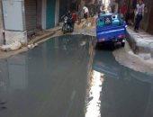 كسر خط مياه الصرف العمومية بقرية الكرور بمدينة أسوان
