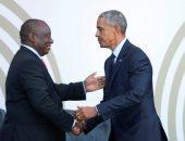 وصول أوباما إلى مقر احتفالية الذكرى المئوية لميلاد نيلسون مانديلا