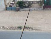 قارئ يرصد عامود إنارة على وشك السقوط بالطريق الدولى فى محافظة الإسكندرية