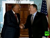 """فيديو.. لحظة استقبال وزير الخارجية الأمريكى لـ""""سامح شكرى"""" فى واشنطن"""