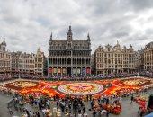 عادة بلجيكية.. انشاء أكبر سجادة فنية بالأزهار فى بروكسيل
