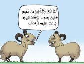 الخرفان يتبرعون بالفرو لحل أزمة انهيار الليرة التركية فى كاريكاتير اليوم السابع