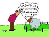 حيل الخرفان للهروب من الذبح بعيد الأضحى فى كاريكاتير اليوم السابع