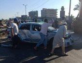 توقف حركة المرور بسبب حادث تصادم أعلى محور 26 يوليو وإصابة 4 أشخاص