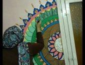 """""""منة """" تبدع فى رسم اللوحات الفنية باستخدام خطوط ماندلا و جلاكسى وألوان الخشب"""