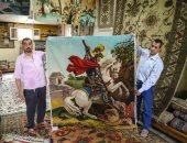 """فيديو.. """"سجاد الحرانية"""".. خيوط ملونة تتحول إلى لوحات فنية تبهر العالم"""
