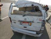 صور .. إصابة 15 شخصا فى حادث انقلاب سيارة ميكروباص بطريق السخنة