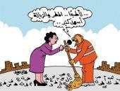 عمال النظافة يعانون فى تنظيف الشارع من الشائعات بكاريكاتير اليوم السابع