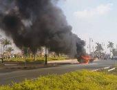 قارئ يشارك بصور وفيديو لحادث تفحم سيارة ملاكى بالشيخ زايد