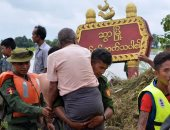 صور.. استمرار عمليات إجلاء السكان اثر انهيار سد فى بورما