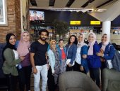 صور.. طلاب جامعة أكتوبر للعلوم يلتقون بمحمد صلاح خلال رحلتهم ببريطانيا