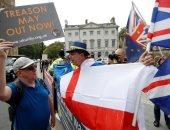 صور.. مظاهرات بريطانية أمام البرلمان البريطانى تزامنا مع خطاب ماى