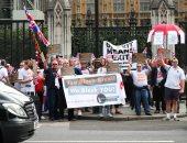 """مؤيدو ومعارضو """"بريكسيت يحتشدون أمام البرلمان البريطانى احتجاجا على سياسات ماى"""