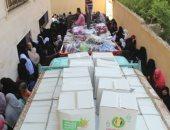 قافلة الأزهر توزع مساعدات غذائية وإنسانية على أهالى رفح والشيخ زويد