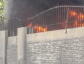 حريق داخل جراج النقل العام بسموحة