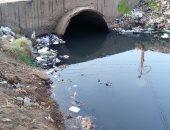 صور.. تلوث مياة ترعة بقرية شطانوف فى المنوفية بسبب كسر ماسورة صرف