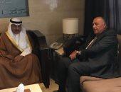 سامح شكرى يبحث مع وزير خارجية الكويت مواجهة التدخلات الخارجية فى الشؤون العربية