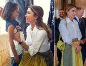 صور.. الملكة رانيا تخلط التصميمات العربية بالعالمية فى إطلالة أنيقة