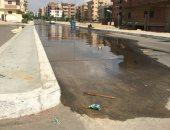 شكوى من غرق أكبر شوارع المنطقة الثالثة بمدينة السادات بمياه الصرف الصحى